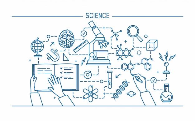 Ilustracja Kontur Sztuki Linii. Nauka Słowo I Technologia Koncepcja. Baner Płaski Kształt Premium Wektorów