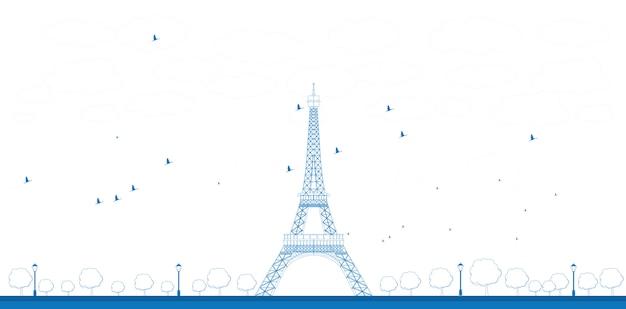 Ilustracja kontur wieży eiffla Premium Wektorów