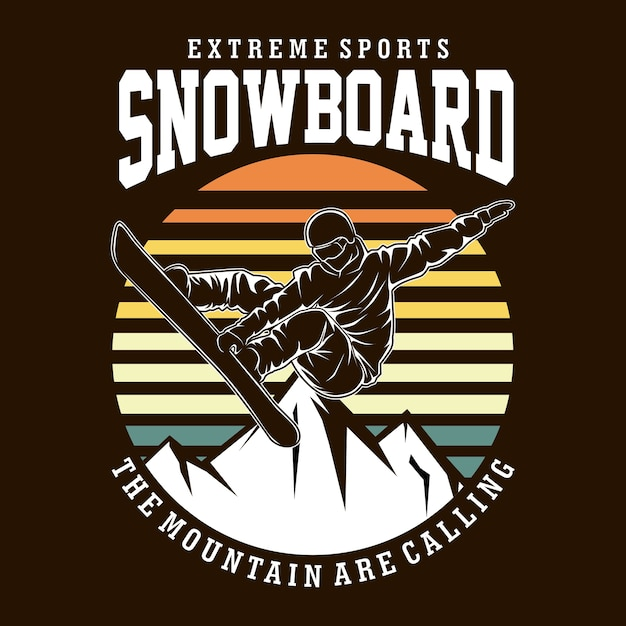 Ilustracja Koszulka Snowboardowa Płaska Premium Wektorów