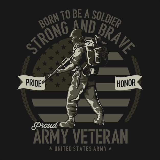 Ilustracja Koszulki Weterana Armii Płaska Premium Wektorów