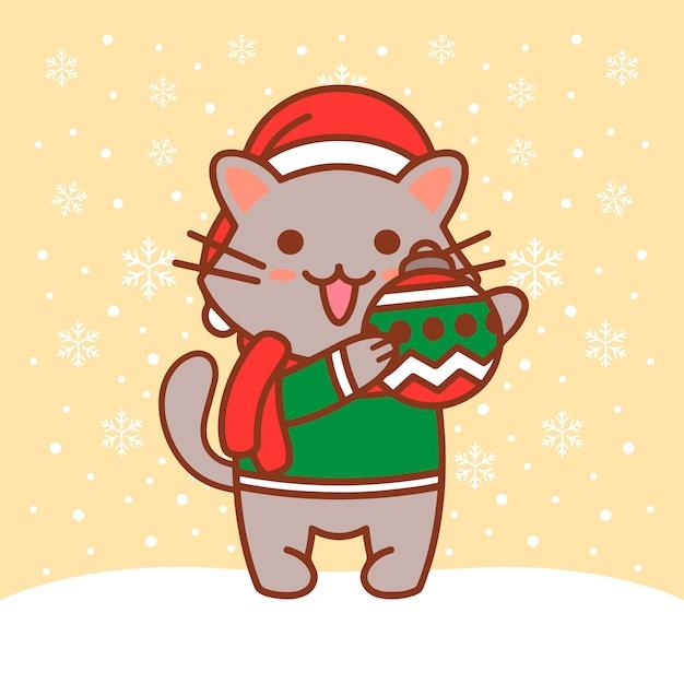 Ilustracja kot boże narodzenie kula Premium Wektorów