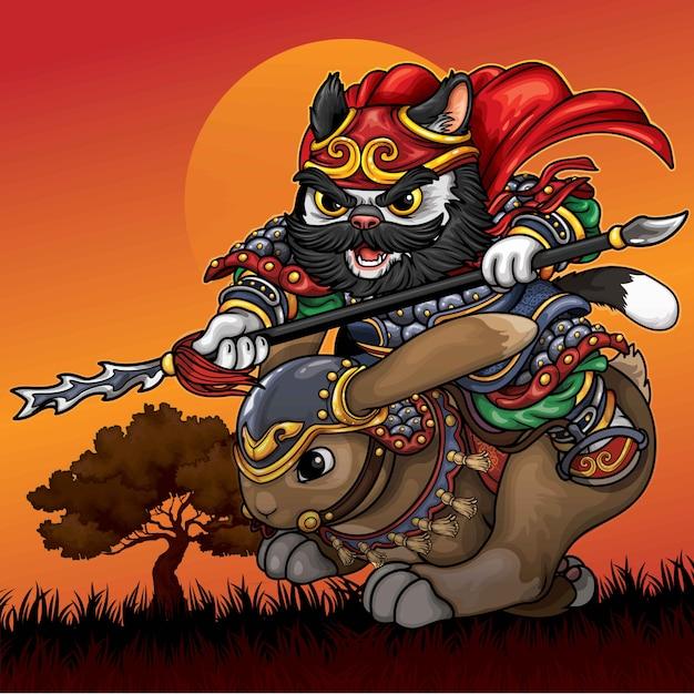 Ilustracja Kot Kawalerii Premium Wektorów
