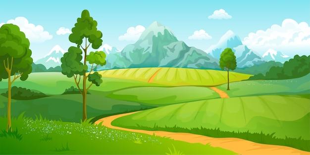 Ilustracja Krajobraz Gór Lato Premium Wektorów