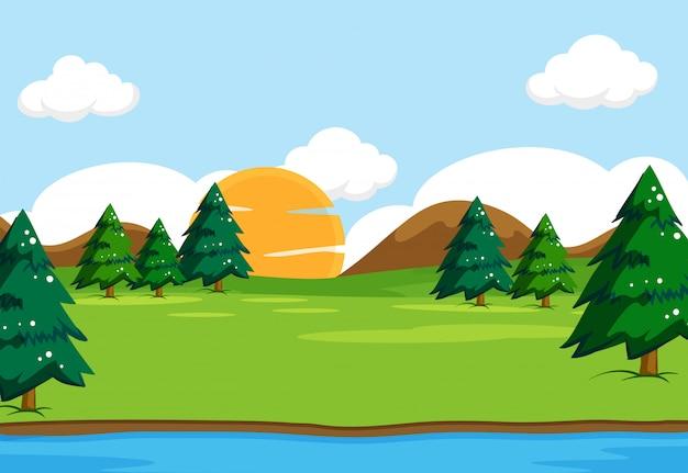 Ilustracja krajobraz scena natura na zewnątrz Darmowych Wektorów