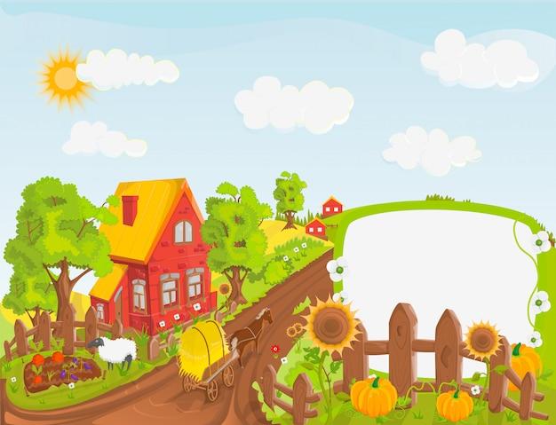 Ilustracja Krajobraz Wiejski Premium Wektorów