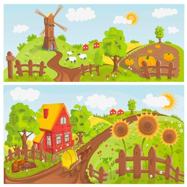 Ilustracja Krajobrazy Wiejskie Premium Wektorów