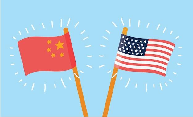 Ilustracja Kreskówka Chińskich I Amerykańskich Flag Na Niebieskim Tle Premium Wektorów