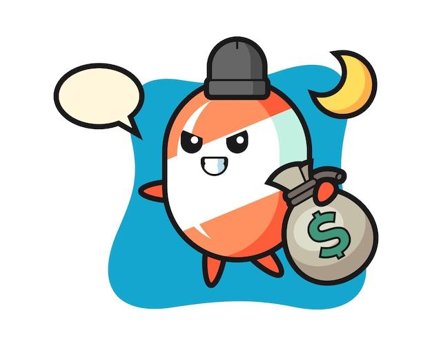 Ilustracja Kreskówka Cukierki Jest Skradziona Pieniądze Premium Wektorów