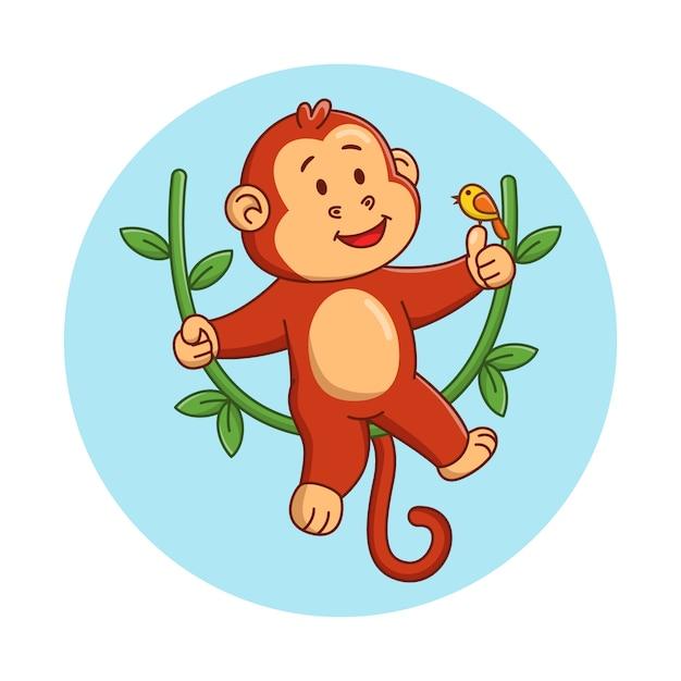 Ilustracja Kreskówka Cute Małpy Bawi Się Z Ptakiem Premium Wektorów