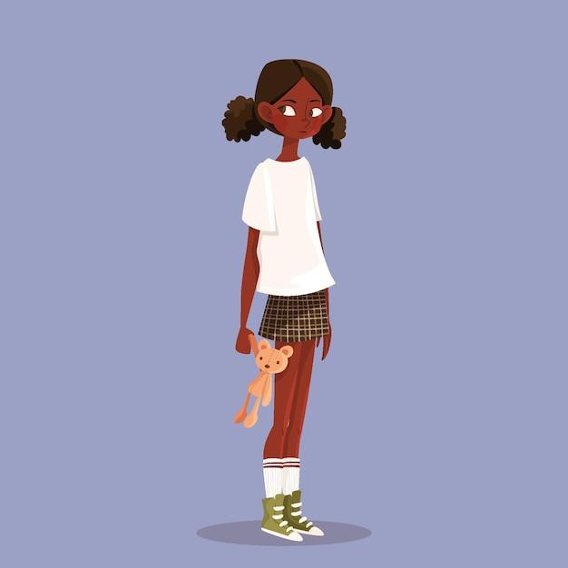 Ilustracja Kreskówka Czarna Dziewczyna Darmowych Wektorów