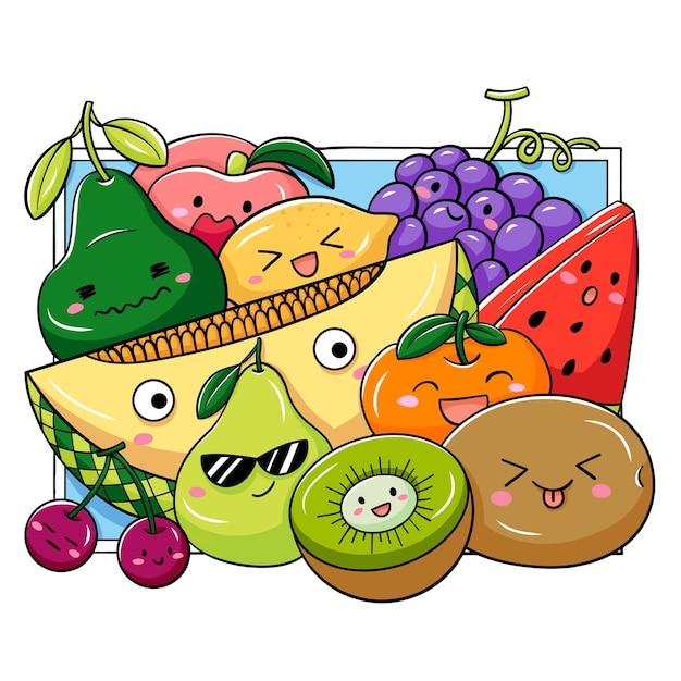 Ilustracja Kreskówka Doodle Owoc Premium Wektorów