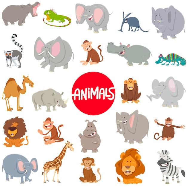 Ilustracja kreskówka duży zestaw znaków zwierząt Premium Wektorów
