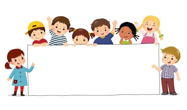 Ilustracja Kreskówka Dzieci Trzymając Pusty Znak Transparent. Szablon Do Reklamy. Premium Wektorów