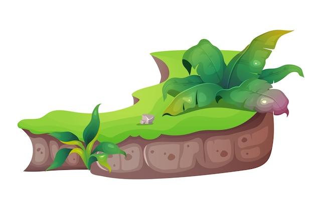 Ilustracja Kreskówka Dżungli. Tropikalna Przyroda. Egzotyczne Liście Z Trawą I Krzewami. Roślin I Roślinność. Szlifowany Obiekt O Płaskim Kolorze. Subtropikalny Charakter Na Białym Tle Premium Wektorów