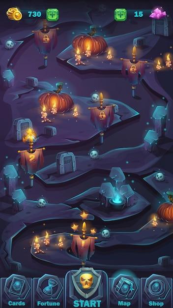 Ilustracja Kreskówka Interfejs Użytkownika Gry - Tło Straszna ściana Halloween Z Oknem Mapy Dyni Premium Wektorów