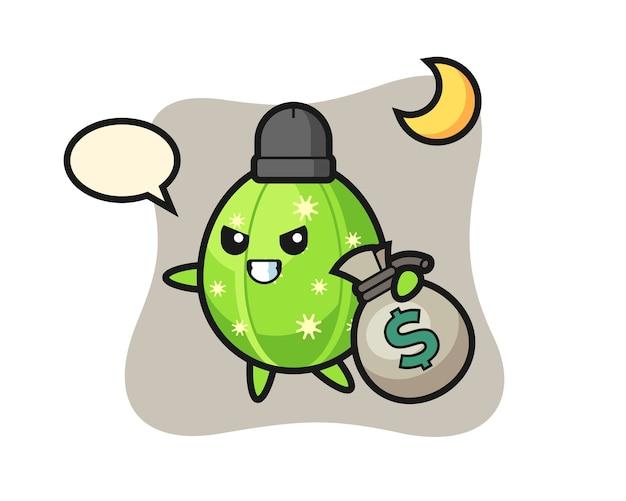 Ilustracja Kreskówka Kaktus Jest Skradziona Pieniądze Premium Wektorów