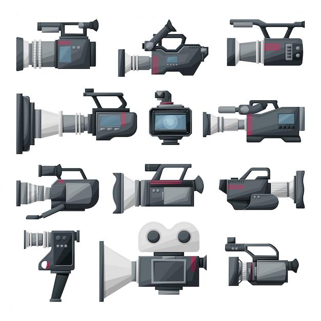 Ilustracja kreskówka kamera wideo Premium Wektorów