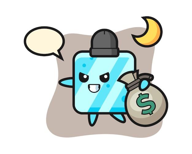 Ilustracja Kreskówka Kostki Lodu Jest Skradziona Pieniądze Premium Wektorów