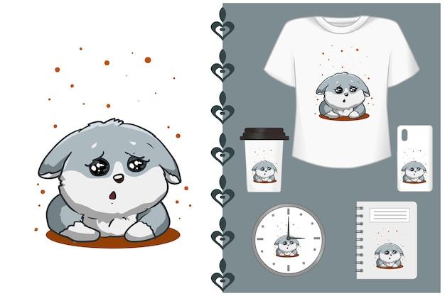 Ilustracja Kreskówka ładny Szary Pies Premium Wektorów