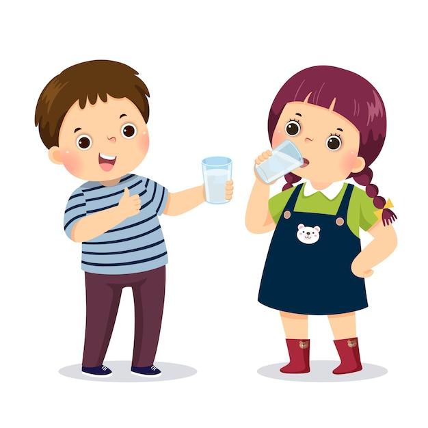 Ilustracja Kreskówka Małego Chłopca Trzymającego Szklankę Wody I Pokazując Kciuk Do Góry Znak Z Wodą Pitną Dziewczyna. Premium Wektorów