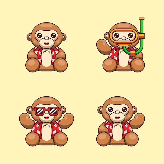 Ilustracja Kreskówka Małpy Niedźwiedzia Z Letnią Koszulę Gotowy Na Dzień Oceanu świata Premium Wektorów