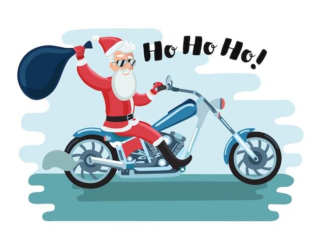 Ilustracja Kreskówka Motocyklisty świętego Mikołaja W Okularach Przeciwsłonecznych Premium Wektorów