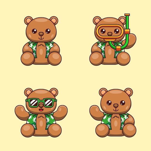 Ilustracja Kreskówka Niedźwiedzia Grizzly Z Letnią Koszulę Gotowy Na światowy Dzień Oceanu Premium Wektorów