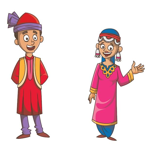 Ilustracja kreskówka pary dżammu i kaszmir. Premium Wektorów