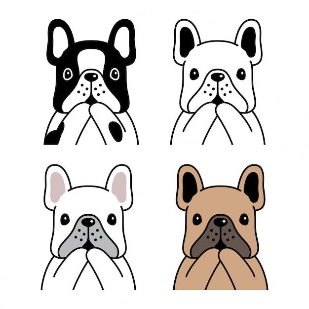Ilustracja Kreskówka Pies Buldog Francuski Premium Wektorów