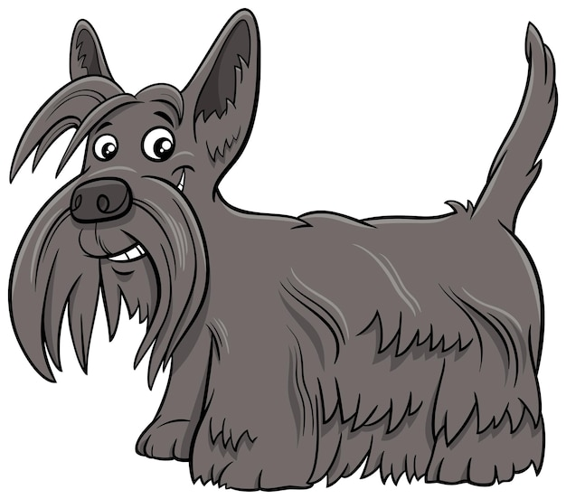 Ilustracja Kreskówka Pies Rasowy Scottish Terrier Premium Wektorów