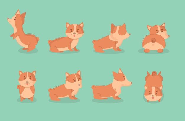 Ilustracja Kreskówka Pies Welsh Corgi Premium Wektorów