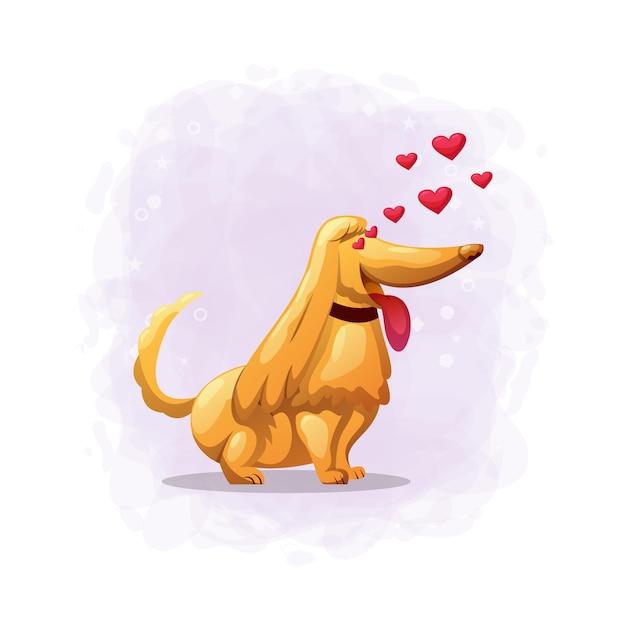 Ilustracja Kreskówka Pies Zakochać Się Premium Wektorów