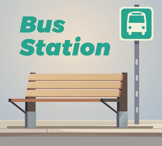 Ilustracja Kreskówka Płaski Pusty Przystanek Autobusowy Premium Wektorów