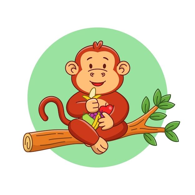Ilustracja Kreskówka Słodkie Małpy Jedzą Owoce Premium Wektorów