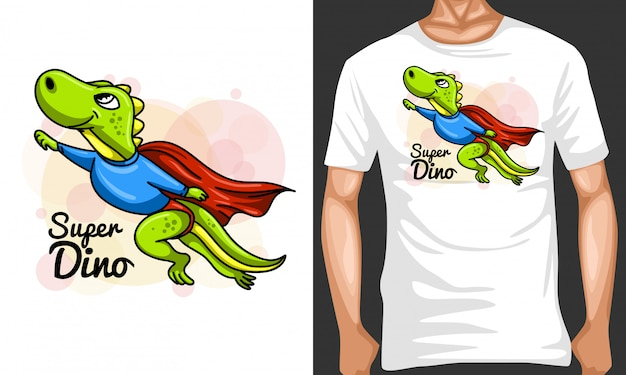 Ilustracja Kreskówka Super Dino I Merchandising Projekt Premium Wektorów