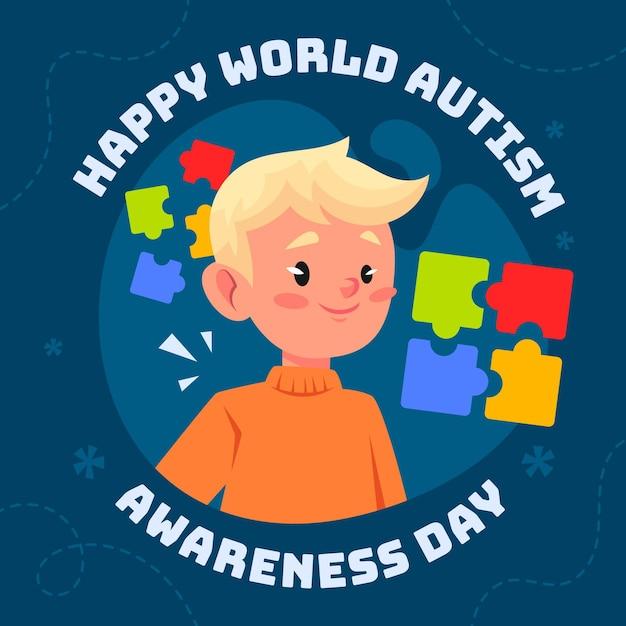 Ilustracja Kreskówka światowy Dzień świadomości Autyzmu Darmowych Wektorów