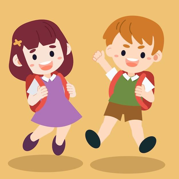 Ilustracja Kreskówka Szczęśliwy Dzieciaki Skoki Na Ziemi. Premium Wektorów