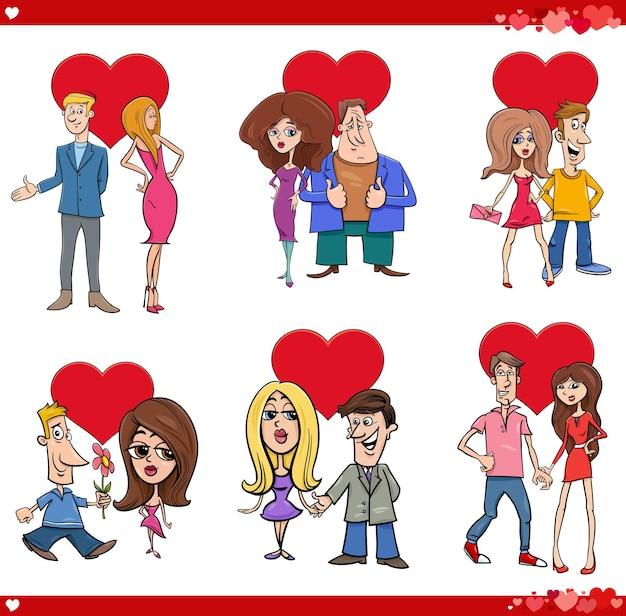 Ilustracja Kreskówka Walentynki Zestaw Z Zakochanymi Parami Premium Wektorów