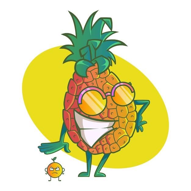 Ilustracja Kreskówka Wektor ładny Ananas. Premium Wektorów