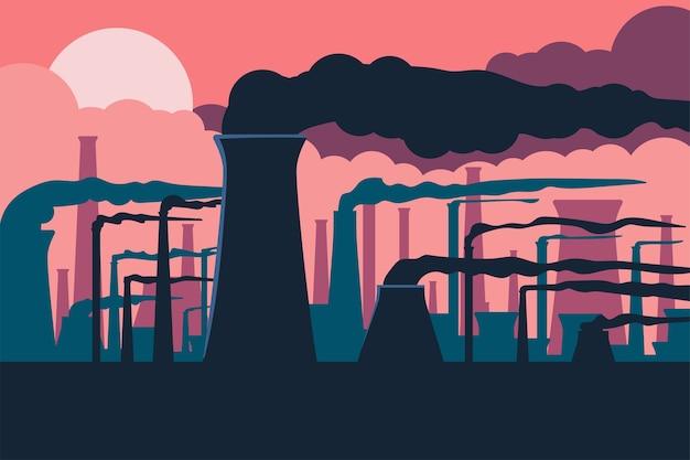 Ilustracja Kreskówka Zanieczyszczenia Powietrza Premium Wektorów