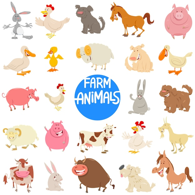Ilustracja kreskówka zestaw znaków zwierząt gospodarskich Premium Wektorów