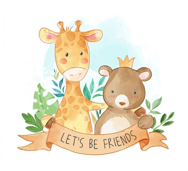 Ilustracja kreskówka zwierząt przyjaźń Premium Wektorów