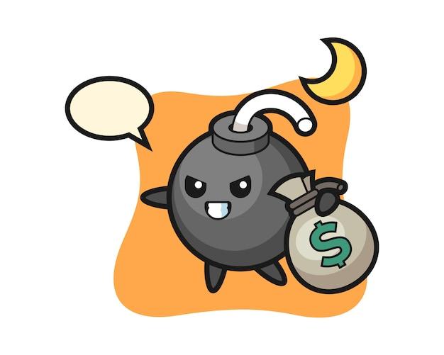 Ilustracja Kreskówki Bomby Została Skradziona Pieniądze Premium Wektorów