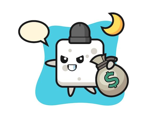 Ilustracja Kreskówki Kostki Cukru Jest Skradziona, ładny Styl Na Koszulkę, Naklejkę, Element Logo Premium Wektorów