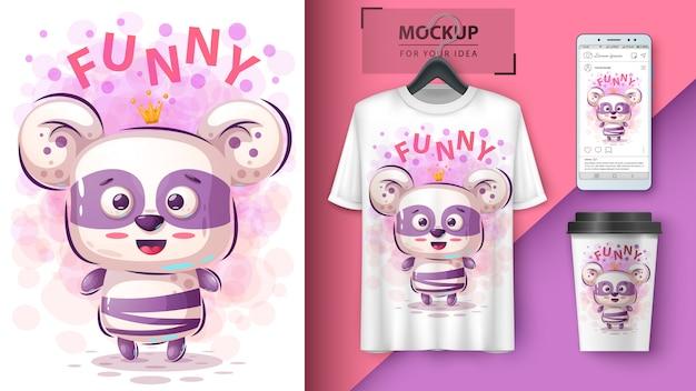 Ilustracja księżniczki pandy i merchandising Premium Wektorów