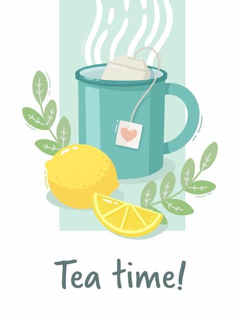 Ilustracja Kubek Z Gorącą Herbatą Z Cytryną Premium Wektorów