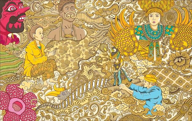 Ilustracja Kultura Indonezji Premium Wektorów