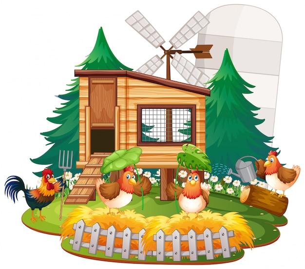 Ilustracja Kurnik Z Kurczakami Premium Wektorów