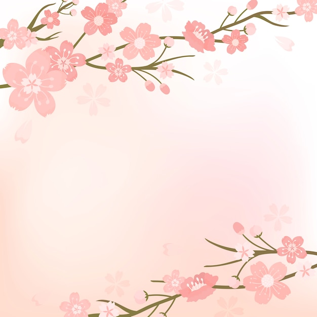 Ilustracja kwiat wiśni Darmowych Wektorów