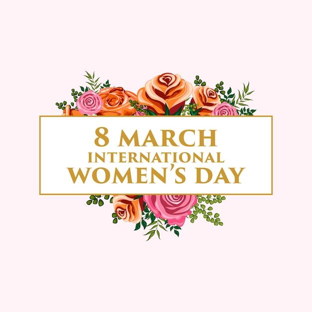 Ilustracja kwiatowy ornament na dzień kobiet międzynarodowych Premium Wektorów